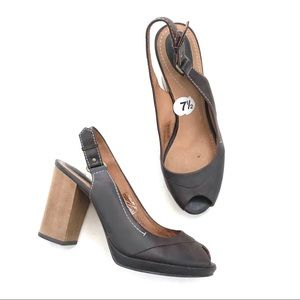 Fossil Brown Leather Pep Toe Block Wooden Heels